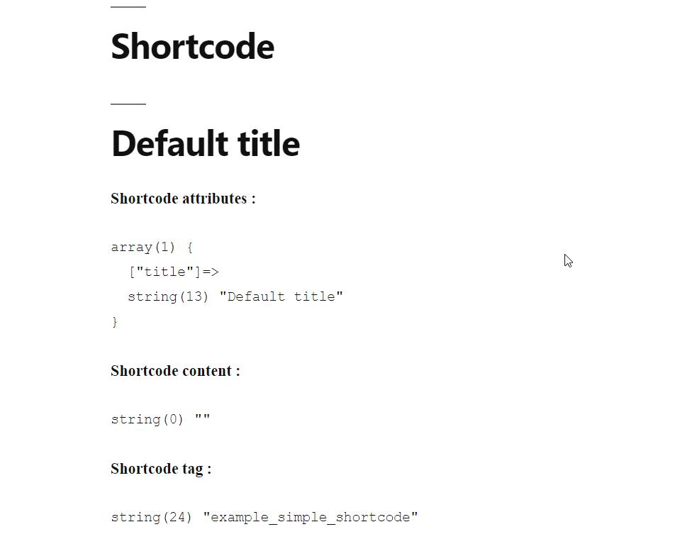 Le code court affiche bien notre titre par défaut.