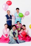 Korean family portrait with traditional costumes