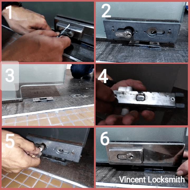 Opening and replacing glass door lock