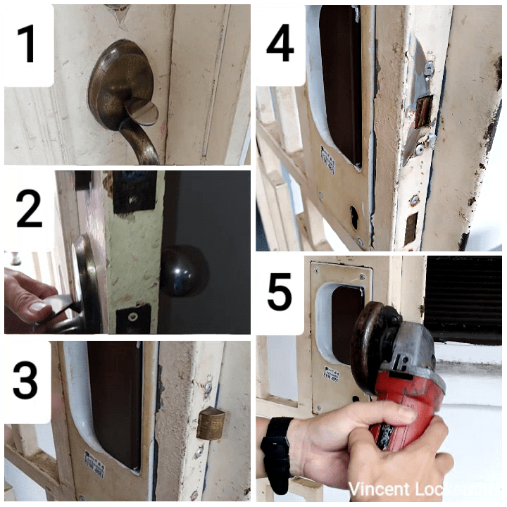 Unlocking main door and removal of door latches.