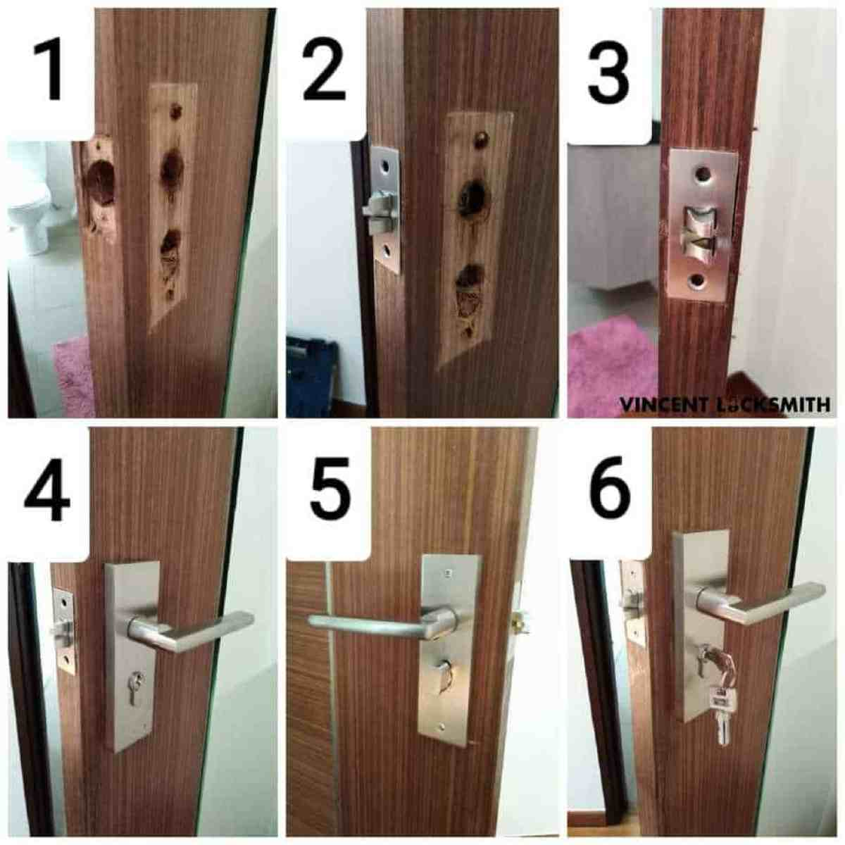 Replacement of toilet door lock