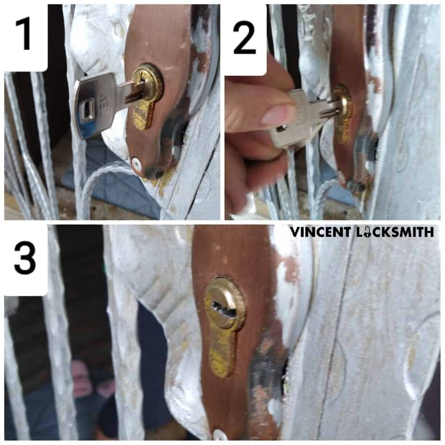 Removing stuck key from gate lock