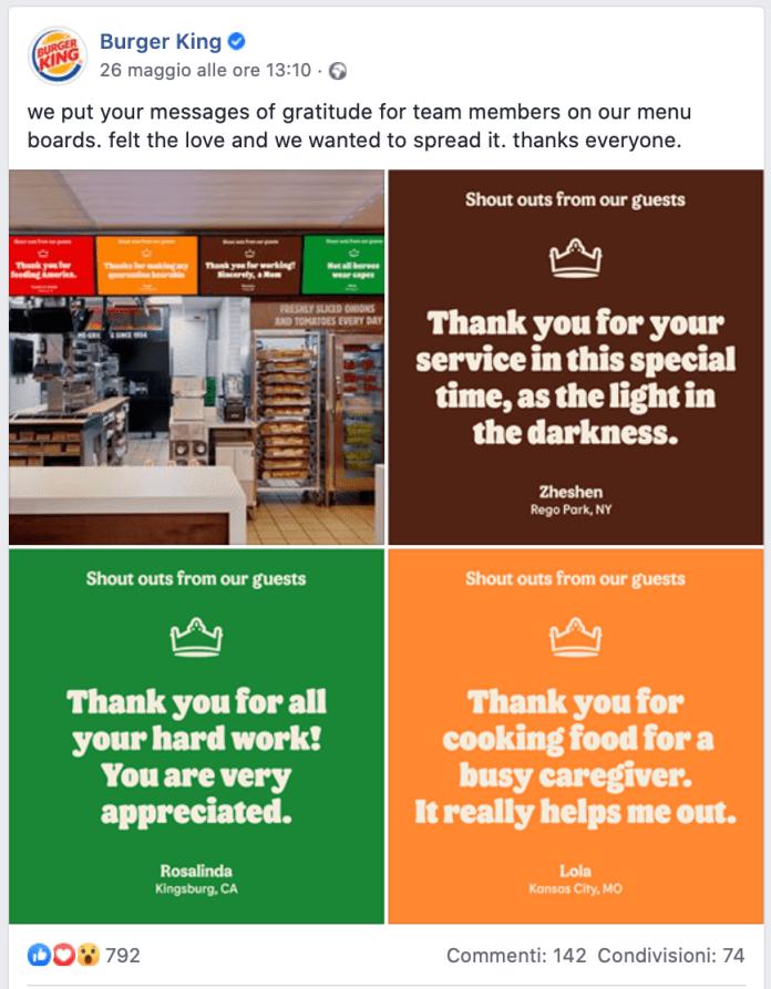 Burger King - Grazie ai dipendenti