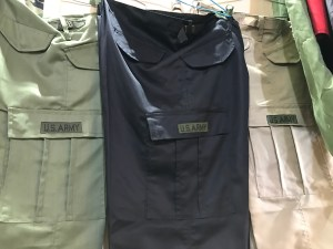 """U.S. ARMY"" stitched into military-style pants. I saw merchandise like this for sale all over the country 