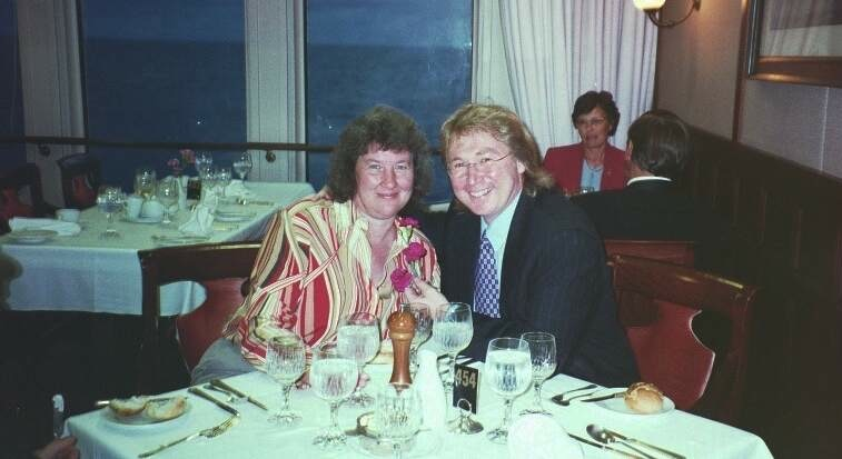 Photograph of the author and his wife sat in the Caronia restaurant