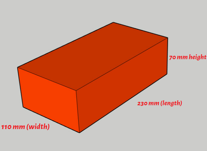 RED CLAY BRICK DIMENSIONS