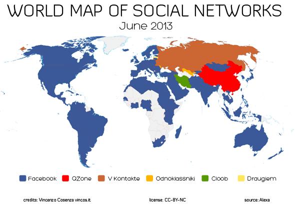 Weltkarte der Social Networks Stand Juni 2013 (Quelle: vincos.it)