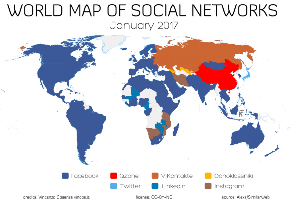 world map of social networks 2017