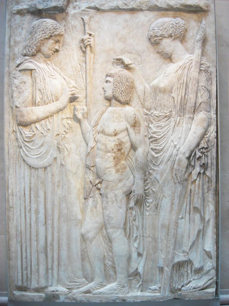 Demeter, Triptolemus, Persephone, Augustan copy of 5th century BC Greek marble. Metropolitan, NY_edited-1