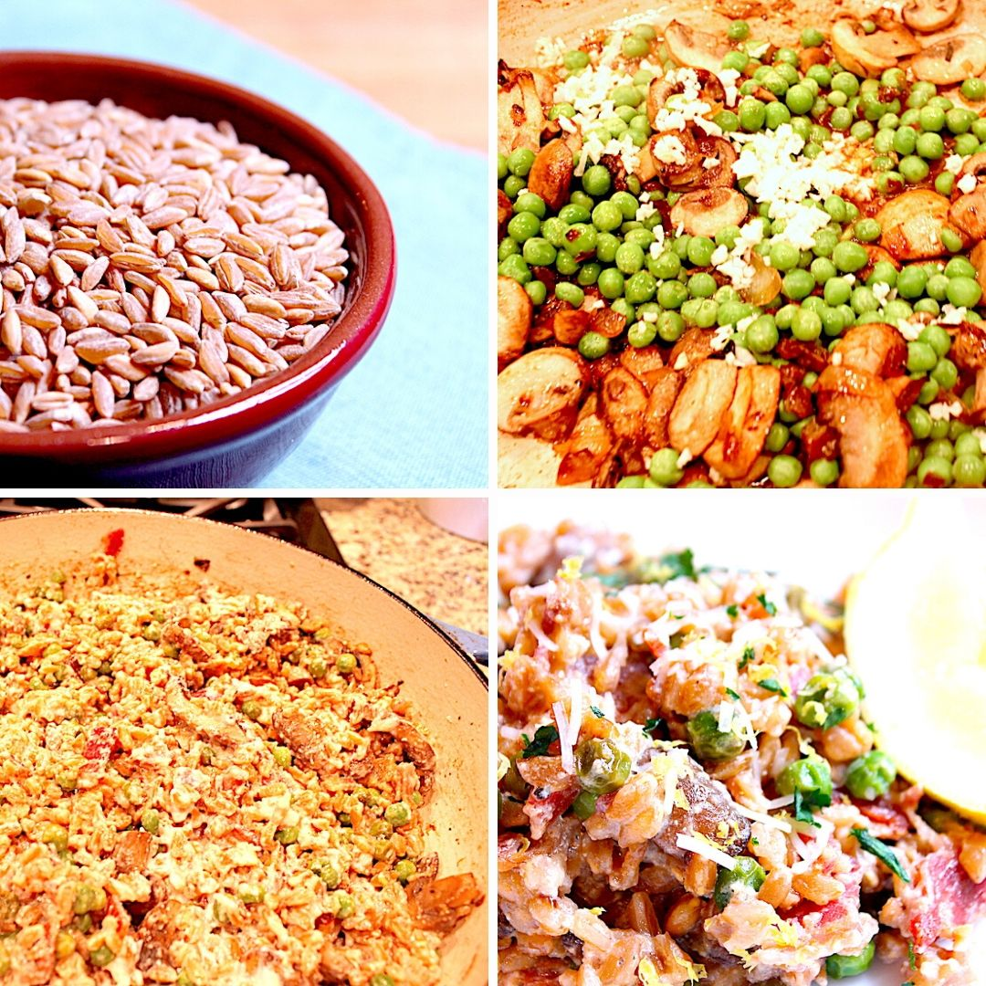mushroom and pea farro risotto 4 images of steps to make