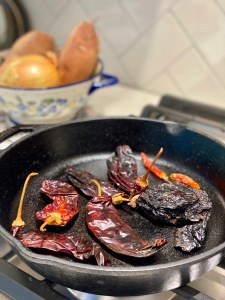 roasting chiles in cast iron