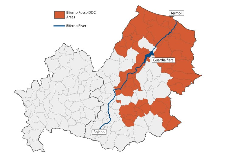 Biferno Rosso DOC Map