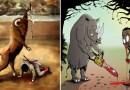 Их поменяли местами: Забавные иллюстрации, в которых людей поставили на место животных.