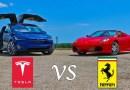 Видео: Tesla Model X против суперкара Ferrari F430 Spider.