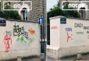 Парень закрашивает плохие граффити, чтобы сделать их разборчивыми.