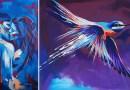Художник из Великобритании создает удивительные цветные портреты животных и людей, не выполняя каких-то особенных подготовительных работ.