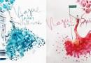 Художник использует капельки воды и акварель, чтобы рисовать спонтанные модные платья. [Видео]