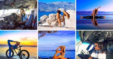 Эта 29-летняя девушка-пилот практикует йогу, чтобы расслабиться между рейсами.