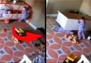 Малыш героически спасает своего брата-близнеца от рухнувшего на него комода. [Видео]