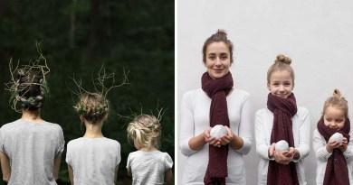 Мать со своими дочками создают милые снимки, на которых они наряжены в схожие одежды.