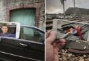 Парень объединяет увиденные им на улице вещи с фильмами и мультфильмами, закаченными на его iPhone.