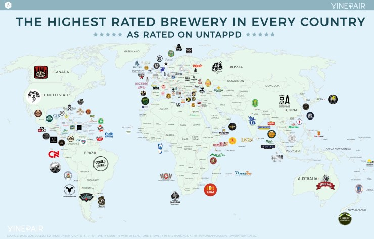 MAP: The Highest Rated Brewery In Every Country According To Untappd (2017)