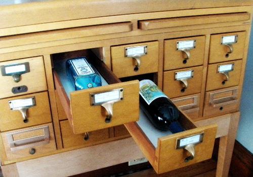 Card Catalog Liquor Cabinet