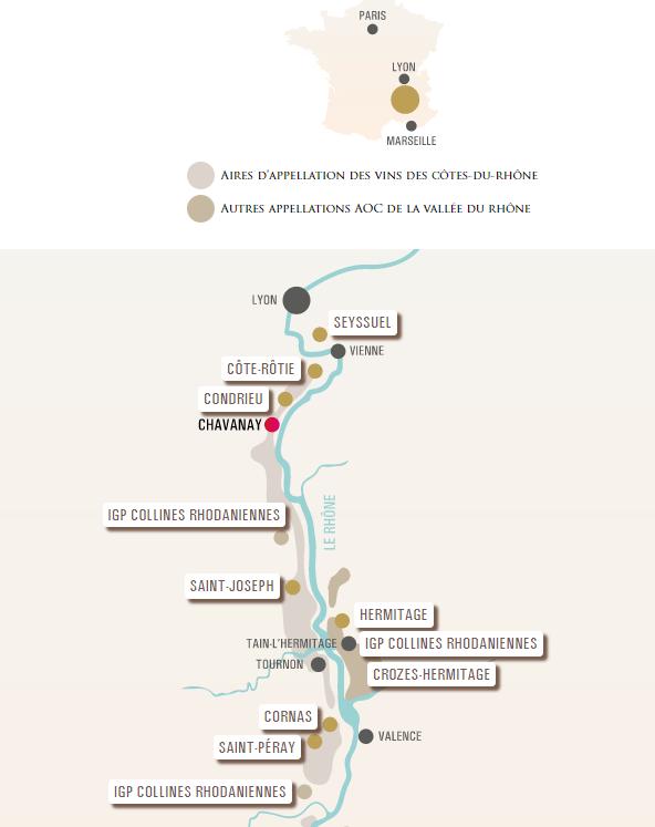 Carte vinicole de la Vallée du Rhône Septentrionale