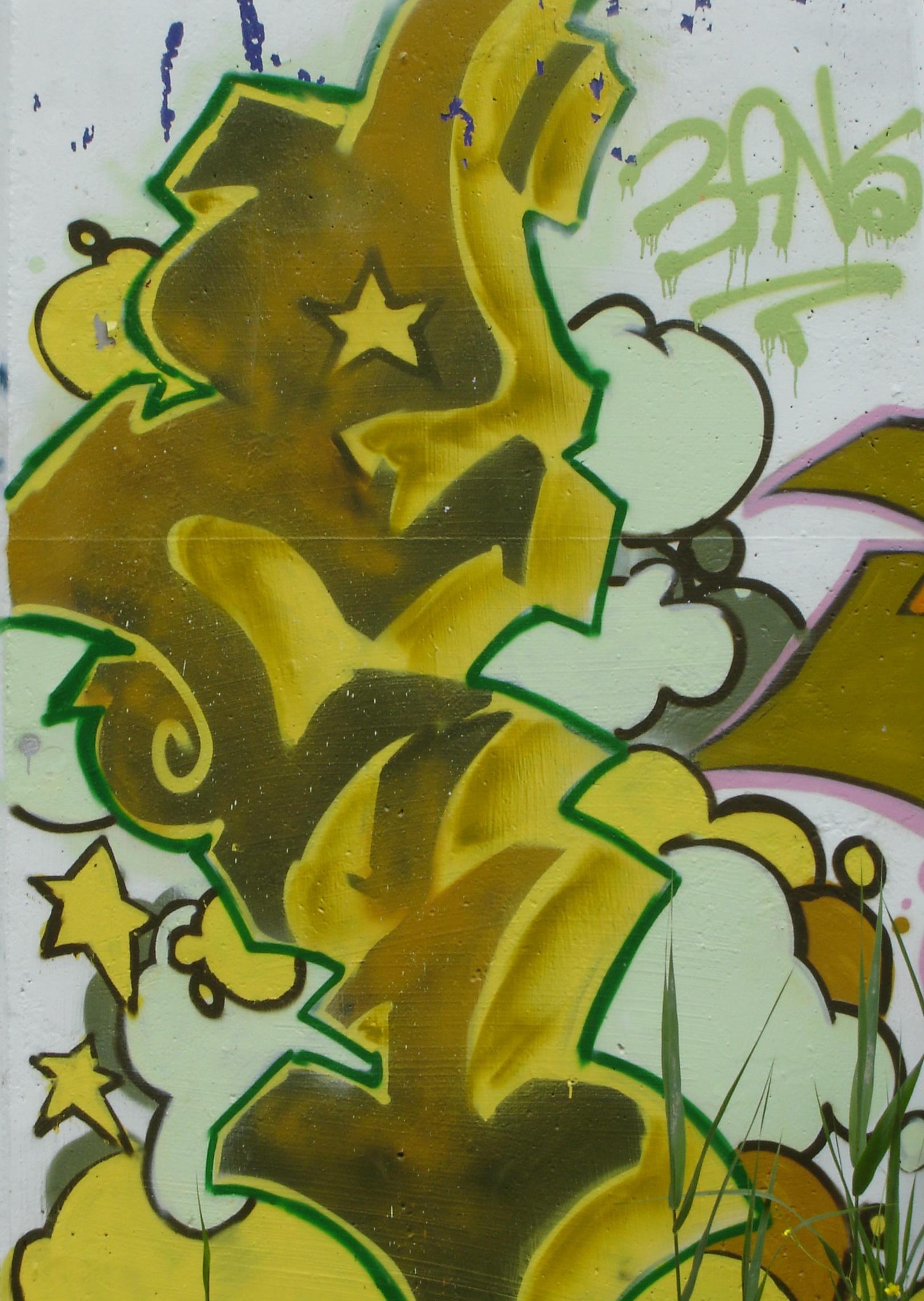 Graffiti on the Glen Cedar Road bridge trestle - close up