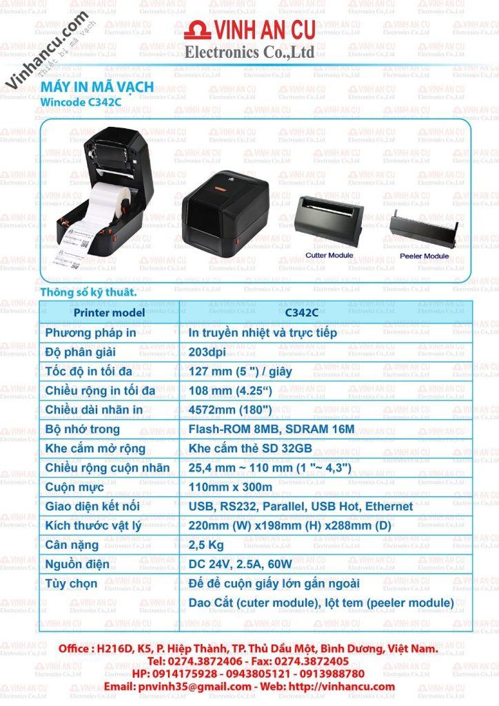 Máy in tem Đài Loan C342C 203 DPI giá tốt nhất