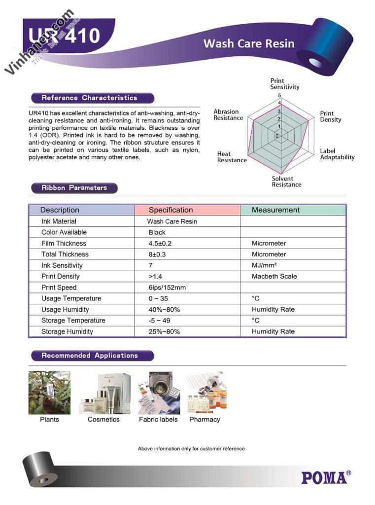 ur410 general wash care resin 110mmx300m