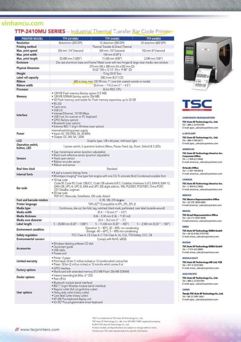 Báo Giá TSC TTP 644MU bán sỉ 2018