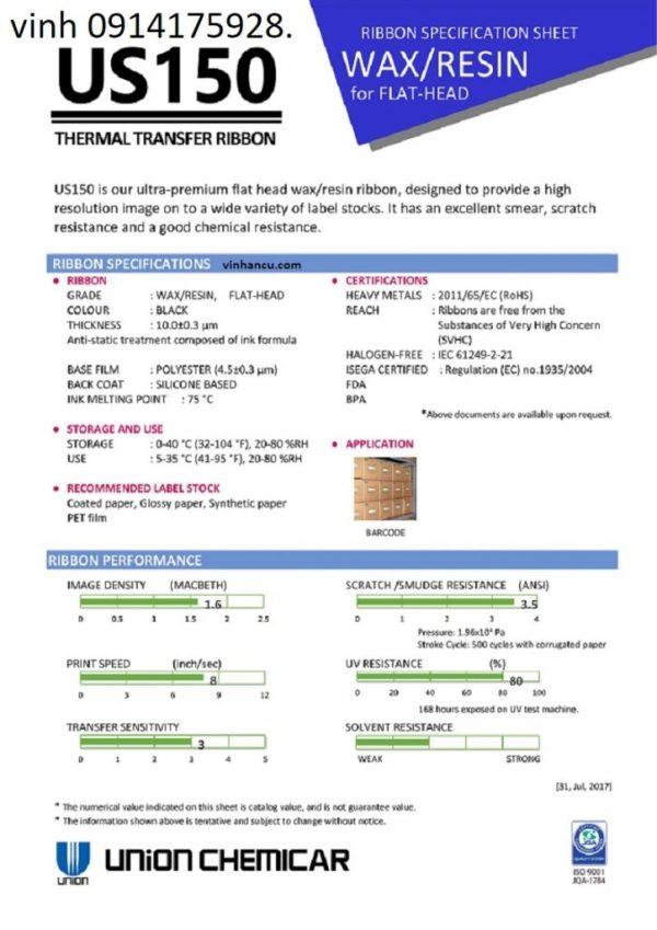 Wax Resin US150 cho máy in barcodes giá rẻ