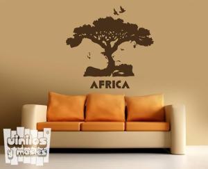 """Vinilo decorativo África """"árbol, gorila y león""""."""