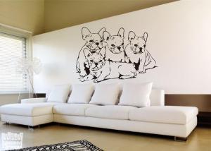 Vinilo decorativo Bulldogs cachorros