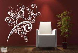 vinilo decorativo enredadera mariposa 2.