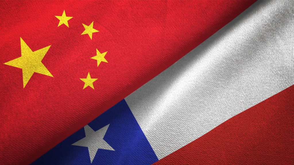 Chile and China flag together realtions textile cloth fabric texture (pic: iStock)