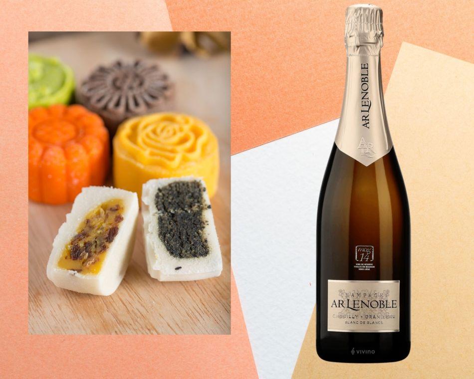 "Snow skin Mooncake with Champagne AR Lenoble Grand Cru Blanc de Blancs ""Mag 16"", France (pic: Vino Joy News)"