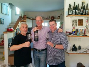Peter mark (center) in Hadar Winery