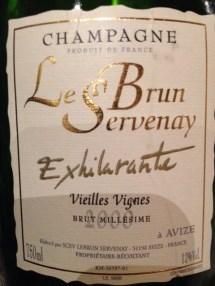 """Champagne v.v. """"Exhilarante"""" 2000 - Le Brun Servenay"""