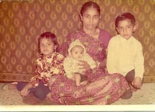 Late Kusumben with three children-2 sons ,1 daudhter