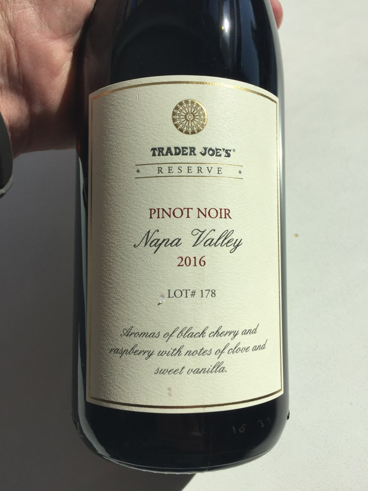 2016 Pinot Noir Trader Joe's Napa Valley, Lot# 178