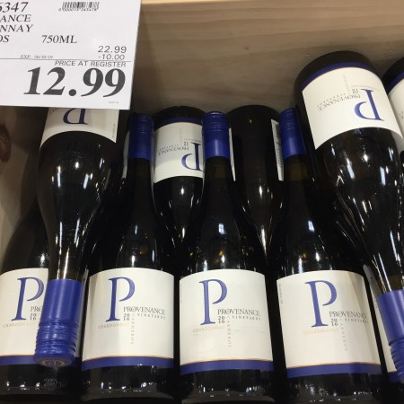 Bin of Provenance Chardonnay at Costco, $10 off and $12,99 final price.