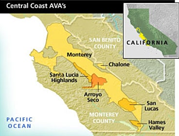 Map of California's Monterey County AVA showing location of Santa Lucia Highlands