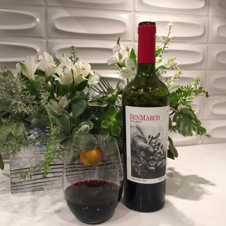 Bottle and glass of BenMarco Malbec from Costco
