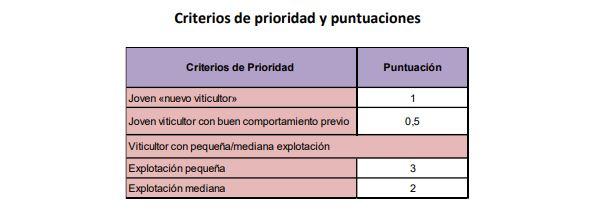 criterios prioridad autorizacion plantacion viñedo