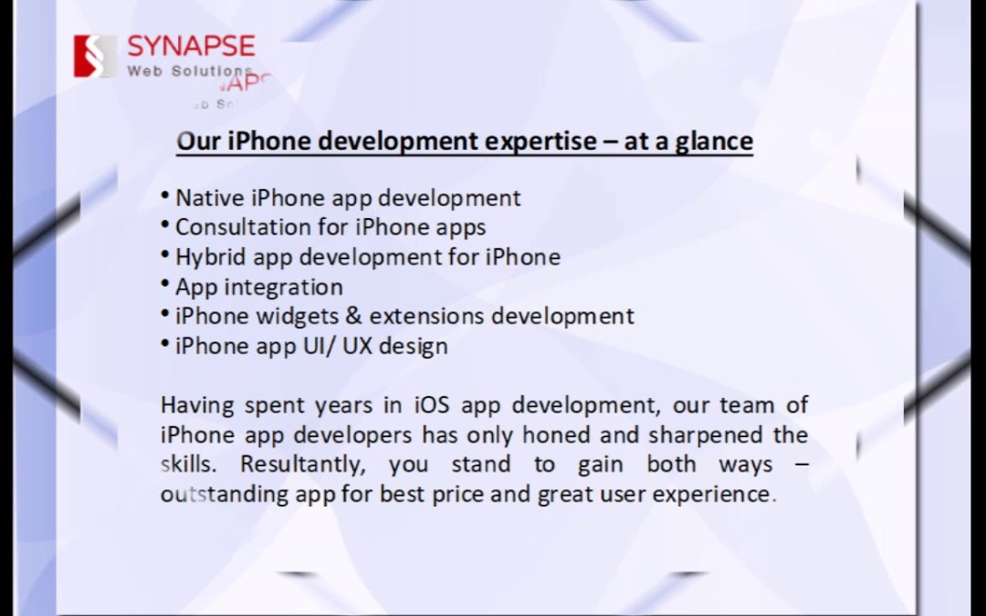 SynapseWebSolutions iPhone App Development Company