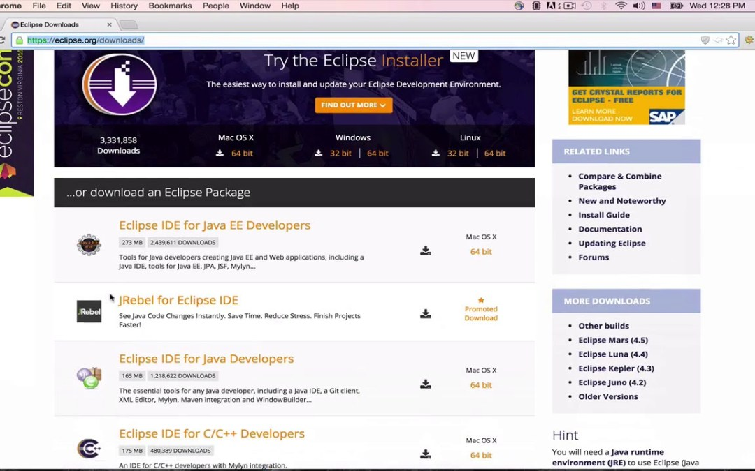 Java&Android Development for beginners: 94 Hours+ & 84 Apps : Download Eclipse IDE