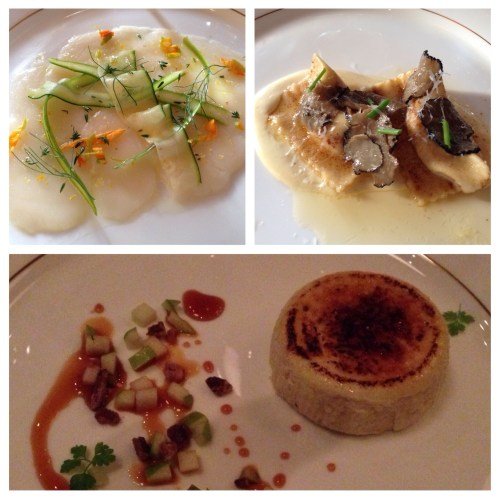 Scallop Crudo with Silvaner; Sweet Corn Agnolotti with Pinot Blanc; and for dessert, Cambozola Cheesecake with a Scheurebe BA