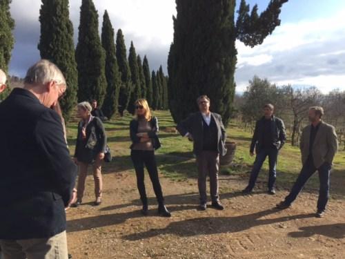 Marco Molesini (center right) at Villa Le Prata in Montalcino